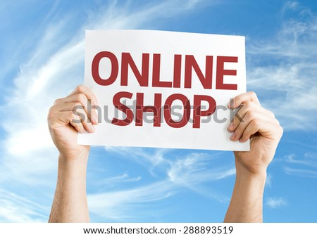 Online Shop card with sky background - stock photo