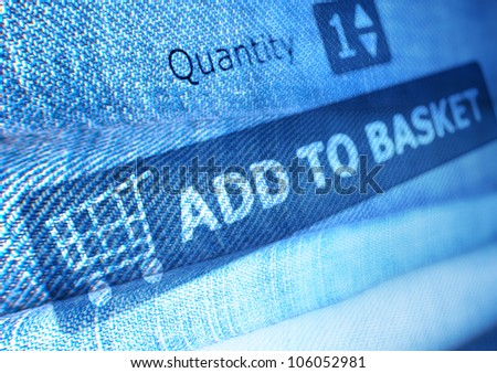 Online Shopping - Add To Basket Button On Background of Jeans - stock photo