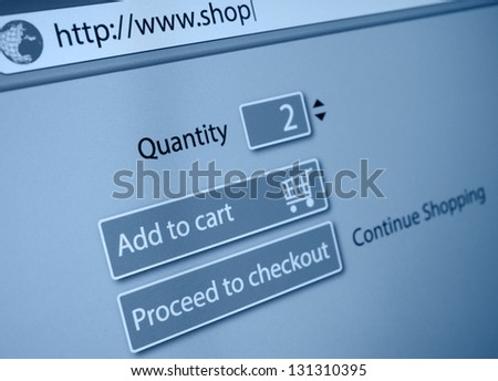 Online Shopping - Add To Cart Button - stock photo