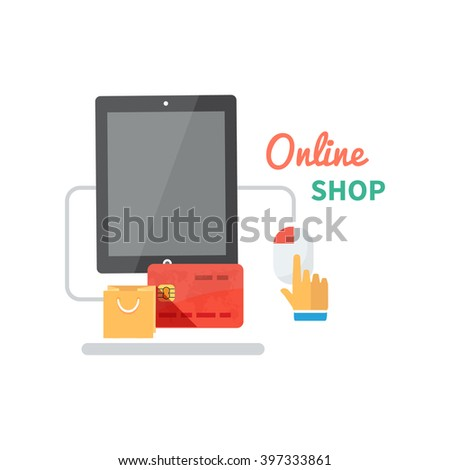 Online shopping and e-commerce concept flat. Web payment, buy and shop, commerce technology marketing, internet shopping process of purchasing. Buy online icon. Hand push buttons on computer mouse - stock photo
