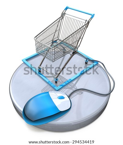 Online shopping, blue computer mouse connected to a shopping cart  - stock photo