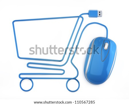 Stock Photos Online Online shopping blue mouse in