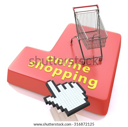 Online shopping button - e-commerce concept  - stock photo
