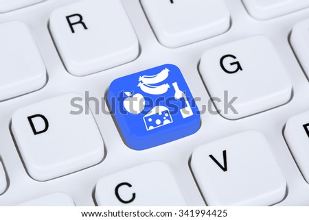 Online shopping buying food e-commerce internet shop concept - stock photo