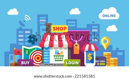 Online shopping. Color flat illustration: online store, shopping, food, clothing, cosmetics, computer, laptop, phone, money, payment card, map - stock photo