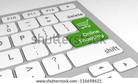 Online shopping concept as a key on a modern computer keyboard.