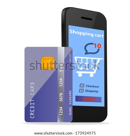 Online Shopping  concept e-commerce technology with modern Smartphone and credit card isolated on white background