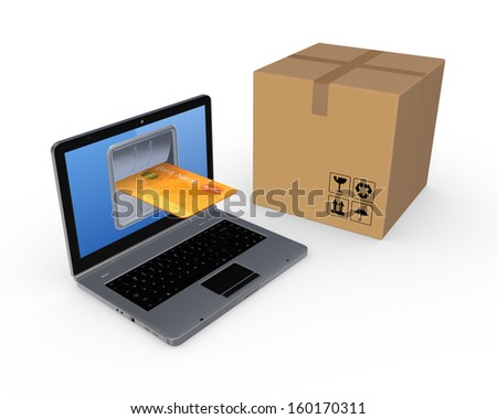 Online shopping concept.Isolated on white.3d rendered. - stock photo