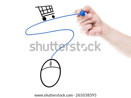 Online shopping concept made using mouse, cart and cable  draw on transparent white wipe board with a hand holding a marker - stock photo