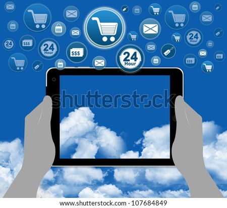 Online Shopping Concept With Group of Online Shopping Icon Over The Tablet PC on Hand With Some Space in The Tablet PC For Writing Your Own Text Message - stock photo