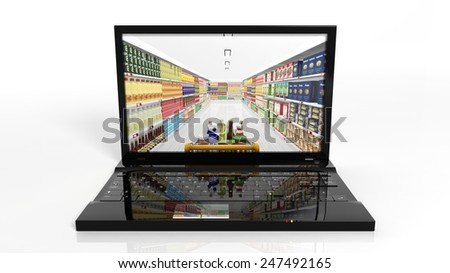 Online shopping concept with laptop and shelves with products - stock photo