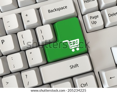 online shopping concepts with cart symbol - stock photo