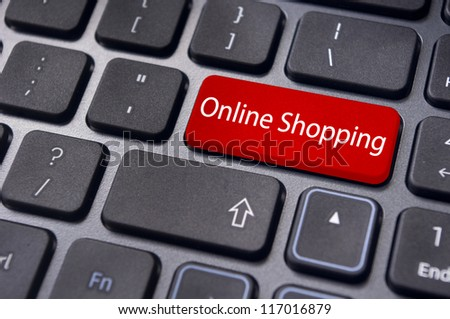 online shopping concepts with message on computer keyboard enter key.