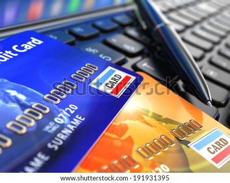Online shopping. Credit card on laptop keyboard. E-commerce. 3d - stock photo