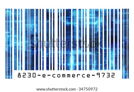 Online Shopping E-commerce on the Internet Barcode - stock photo