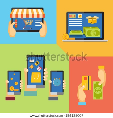 online shopping, icons for online shop, add to bag, payment methods - stock photo