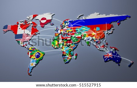 3d World Map World Flags Raised Stock Illustration