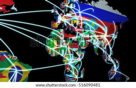 Online shopping world map 3 d rendering stock illustration 516090481 online shopping in world map 3d rendering on black gumiabroncs Gallery