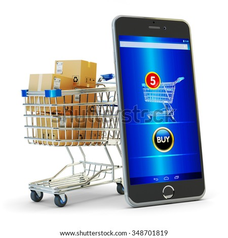 Online shopping, internet purchases and e-commerce concept, modern mobile phone with buy button on the screen and shopping cart full of package boxes isolated on white - stock photo