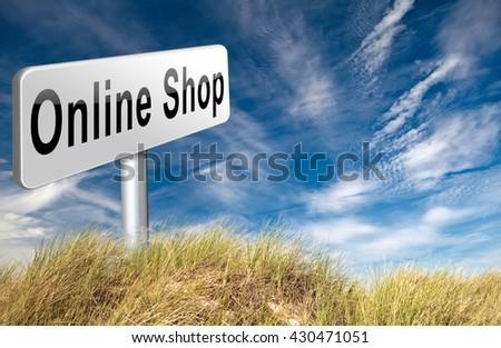 Online shopping internet web shop webshop, road sign billboard. 3D illustration  - stock photo