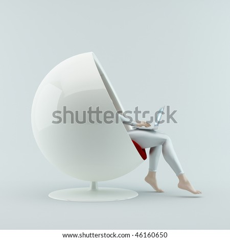 Online shopping. The girl sitting in a chair with a laptop on his lap. - stock photo