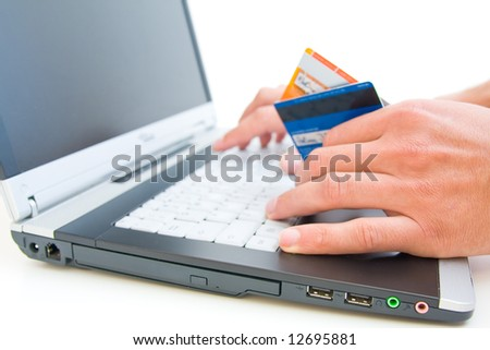 online shopping with shallow DOF - stock photo