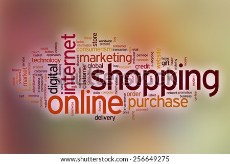 Online shopping word cloud concept with abstract background - stock photo