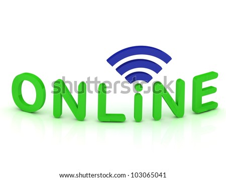 online signal sign with green letters on white background - stock photo
