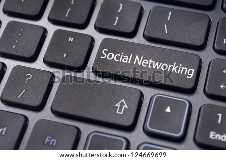 online social networking concepts, with message on enter key of keyboard.