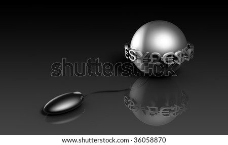 Online Stock Trading Simple Tool Mouse in 3d - stock photo
