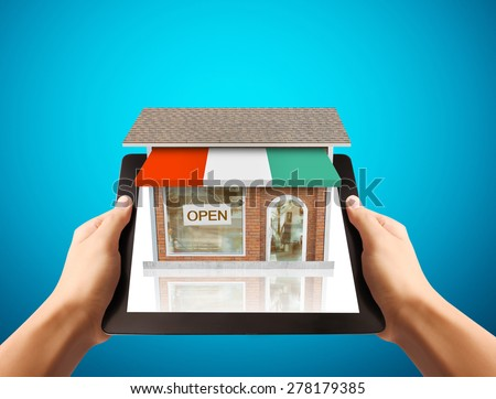 online store, media networks in your online marketing - stock photo