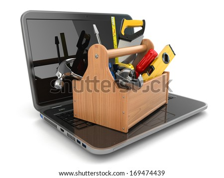 Online support concept. Laptop and toolbox on white isolated background. Tools online sales. 3d - stock photo