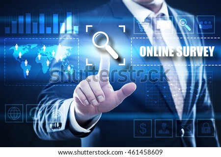 online survey, business, technology and internet concept: businessman are using a virtual computer and are selecting online survey.