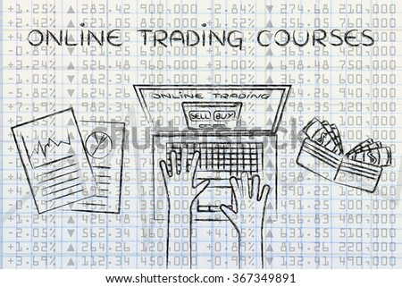 online trading courses: computer user with wallet and stats on stock market data - stock photo
