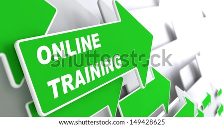 "Online Trainin - Education Concept. Green Arrow with ""Webinar"" slogan on a grey background. 3D Render. - stock photo"