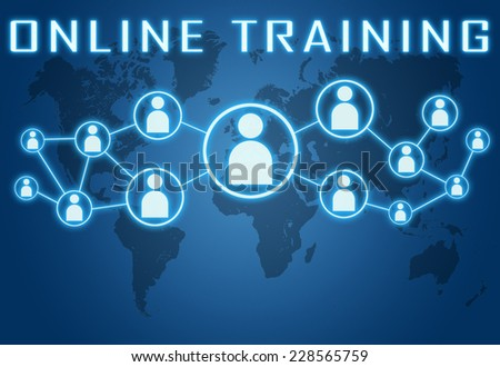 Online Training concept on blue background with world map and social icons. - stock photo