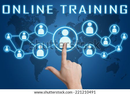 Online Training concept with hand pressing social icons on blue world map background. - stock photo