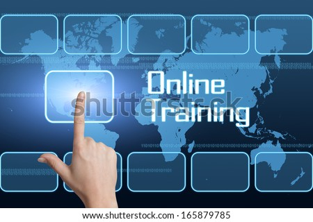 Online Training concept with interface and world map on blue background - stock photo