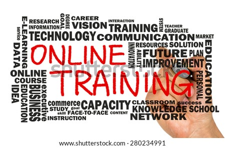 online training concept with related word cloud handwritten on whiteboard - stock photo