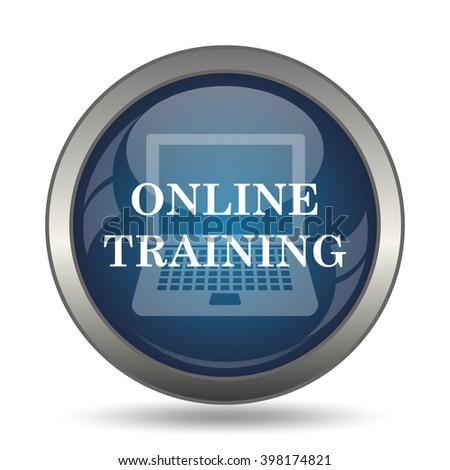 Online training icon. Internet button on white background. - stock photo