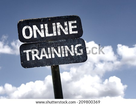 Online Training sign with clouds and sky background - stock photo
