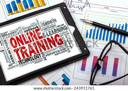 online training word cloud with related tags - stock photo