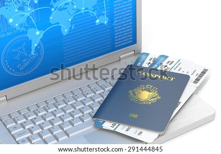 Online Travel. Laptop of brushed steel with Blue Passport and Airline tickets. Blue Screen with world map. Non-Country golden Blazon. - stock photo