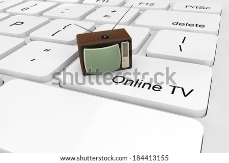 Online TV concept. Extreme closeup Rare TV on a keyboard