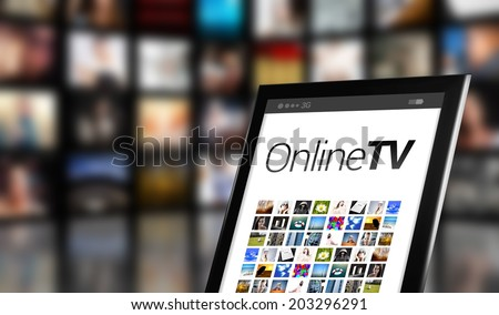 Online TV concept, tablet with many icons and LCD panels - stock photo