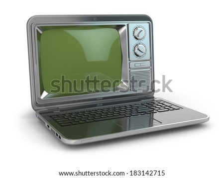 Online tv. Laptop with old-fashioned tv screen. 3d - stock photo