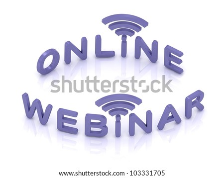 Online Webinar sign with lilac letters on white background - stock photo