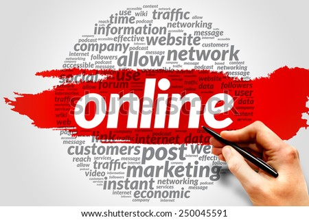 ONLINE word cloud, business concept - stock photo