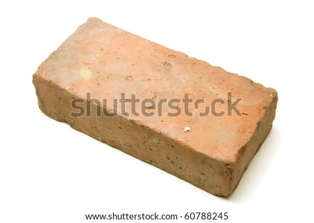 Only a brick Isolated on white background - stock photo