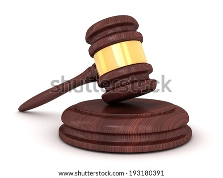 Only gavel on a white background (done in 3d)